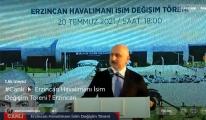 Erzincan Havalimanı nın adı resmi olarak değiştirildi