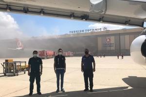 Uçak bakım hangarında oksijen tüpü patladı#video