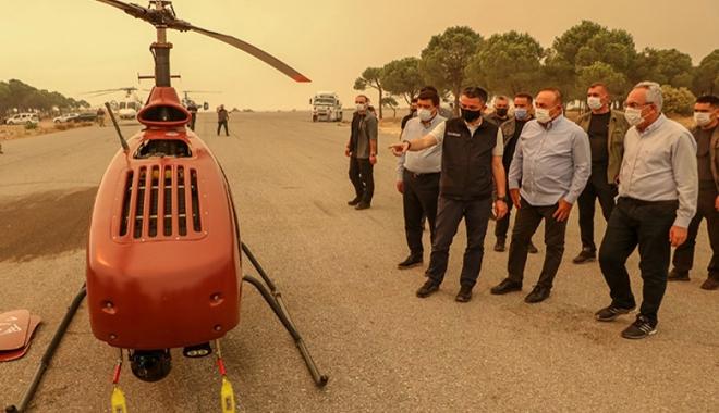 İnsansız helikopter ilk kez Manavgat yangınında kullanıldı